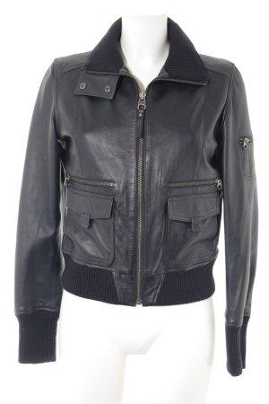 MNG Casual Sportswear Lederjacke dunkelblau Biker-Look