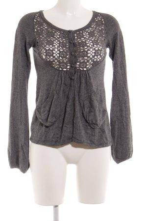 MNG Casual Sportswear Strickjacke grau Blumenmuster Casual-Look