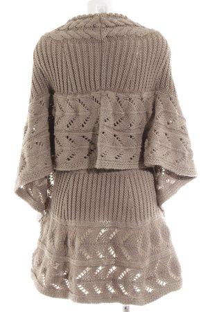 MNG Casual Sportswear Strickponcho braun Zopfmuster Vintage-Look