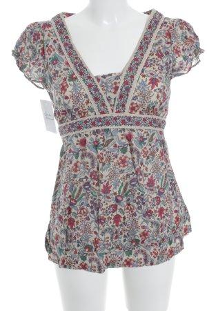 MNG Casual Sportswear T-Shirt beige-karminrot Blumenmuster Street-Fashion-Look