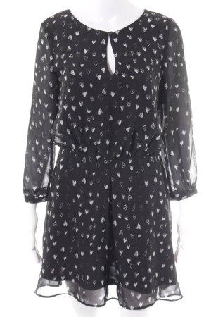 MNG Collection Blusenkleid schwarz-weiß Herzmuster Casual-Look