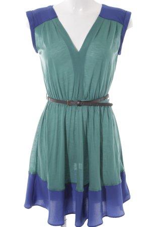 MNG Collection Jerseykleid grasgrün-stahlblau Casual-Look