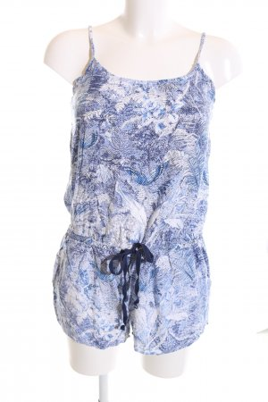 MNG Collection Jumpsuit blau-weiß Blumenmuster Casual-Look