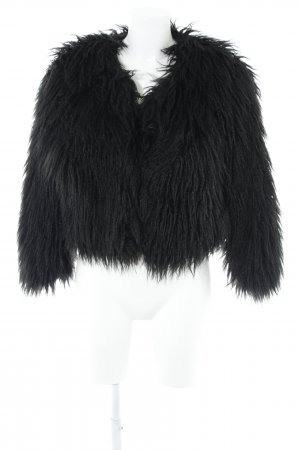 MNG Collection Veste en fausse fourrure noir élégant