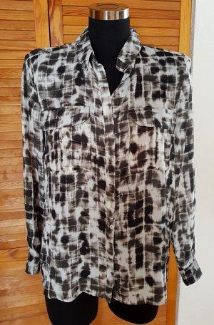 MNG Collection Lässige Bluse Hemdbluse Muster schwarz-grau-weiß S Neu m. Etikett