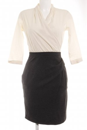 MNG Collection Midikleid creme-grau Business-Look