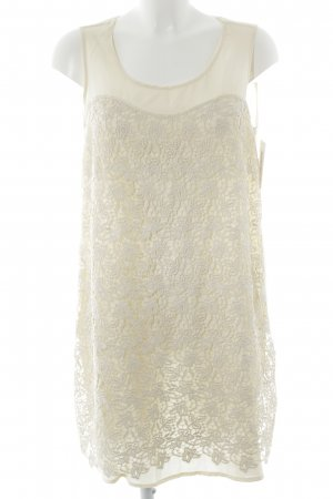 MNG Collection Minikleid creme florales Muster Spitzen-Optik