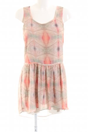 MNG Collection Volantkleid creme-rot abstraktes Muster Casual-Look