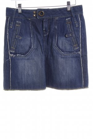 MNG Jeans Jeansrock dunkelblau Washed-Optik