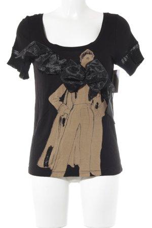 MNG Jeans T-Shirt beige-schwarz Casual-Look