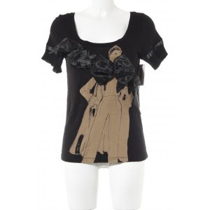 MNG Jeans T-Shirt schwarz-camel Casual-Look
