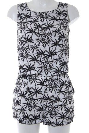 MNG Combinaison blanc-noir motif floral Look de plage