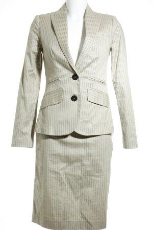 MNG Tailleur beige-brun foncé rayure fine style d'affaires