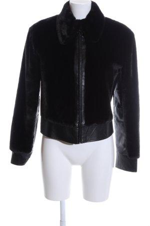 MNG Fake Fur Jacket black casual look