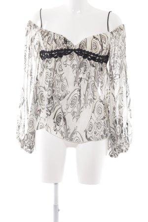 MNG Langarm-Bluse creme-schwarz florales Muster extravaganter Stil