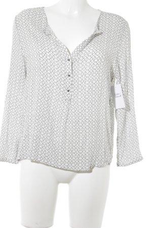 MNG Langarm-Bluse schwarz-weiß abstraktes Muster Casual-Look