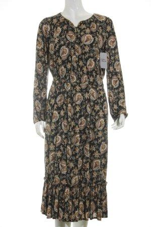MNG Langarmkleid dunkelblau-dunkelorange abstraktes Muster Gypsy-Look