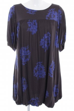MNG Langarmkleid schwarz-blau florales Muster Casual-Look