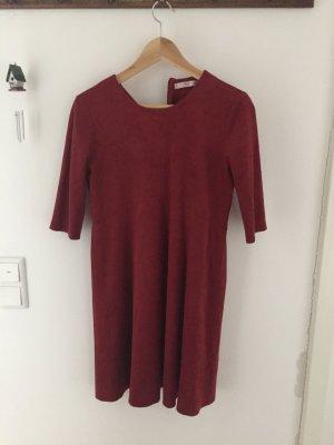 MNG Leder Kleid rotbraun