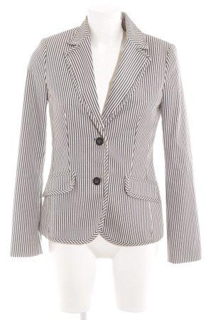MNG Blazer long blanc-bleu motif rayé style décontracté