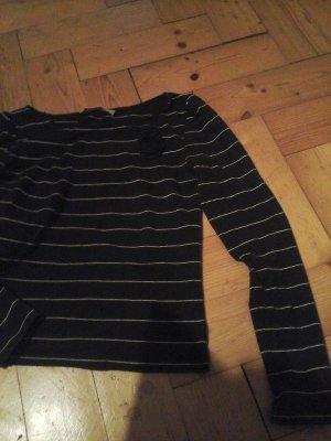 Mng MANGO Shirt Longsleeve Longshirt gestreift schwarz weiß Baumwolle Ansteckblume Gr. S/36