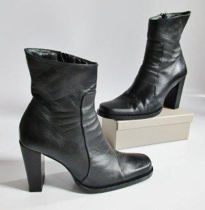 MNG Mango Stiefel Schwarz 38 Leder High Heels Boots Stiefeletten Glattleder Klassisch