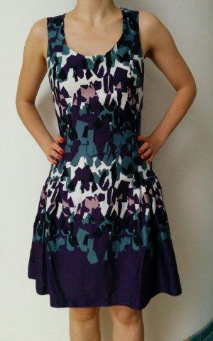 MNG Mango Suit Kleid Cocktailkleid Abendkleid bunt schick Lila Petrol Weiß Gr. XS NEU