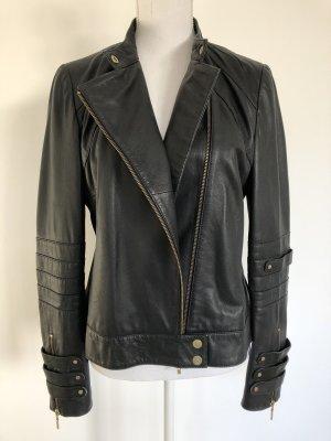 MNG Mango Suit Leder Jacke Lederjacke Echtleder schwarz gold