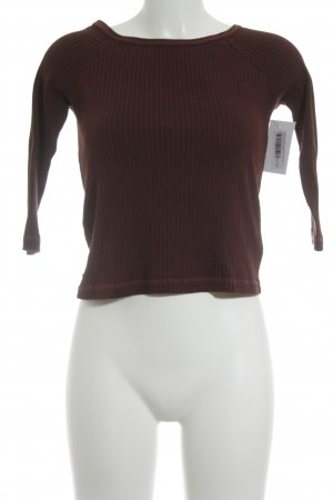MNG Rippshirt bordeauxrot-schwarz meliert schlichter Stil
