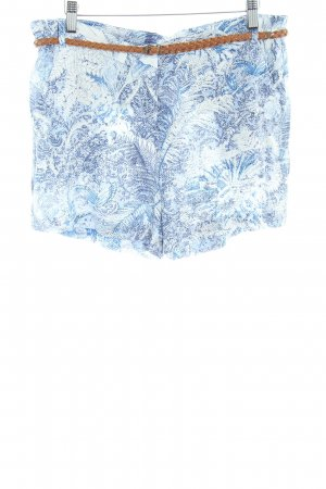 MNG Shorts white-steel blue floral pattern beach look