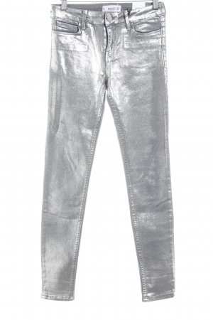 MNG Skinny Jeans silberfarben Metallic-Optik