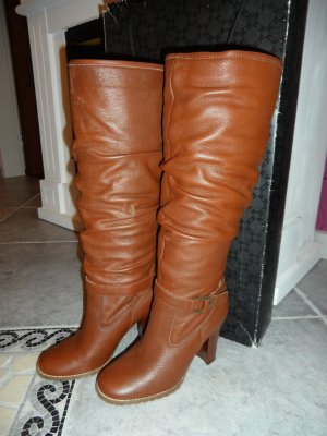 Platform Boots brown leather