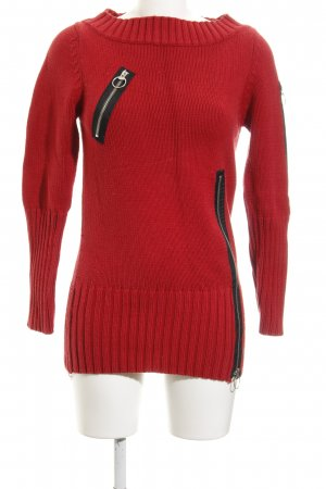 MNG Strickpullover rot-schwarz Lochstrickmuster Casual-Look