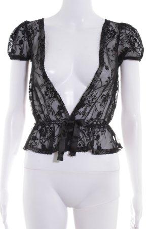 MNG SUIT Blouson noir motif de fleur style transparent