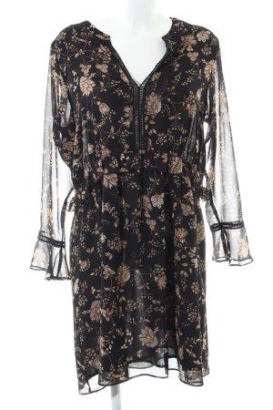 MNG SUIT Blusenkleid schwarz-bronzefarben Allover-Druck Elegant