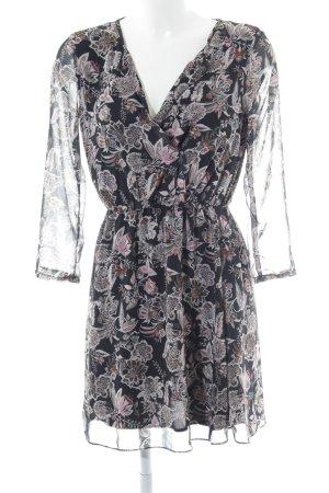 MNG SUIT Blusenkleid schwarz-creme florales Muster Elegant
