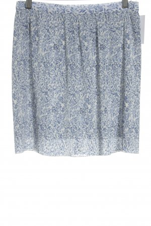 MNG SUIT Faltenrock weiß-blau florales Muster Business-Look