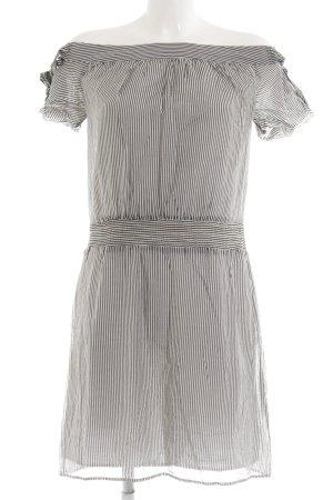 MNG SUIT Kurzarmkleid weiß-schwarz Streifenmuster Casual-Look