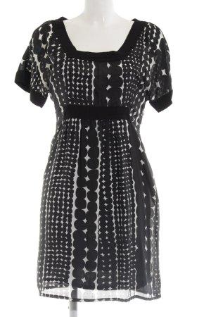 MNG SUIT Kurzarmkleid schwarz abstraktes Muster Casual-Look