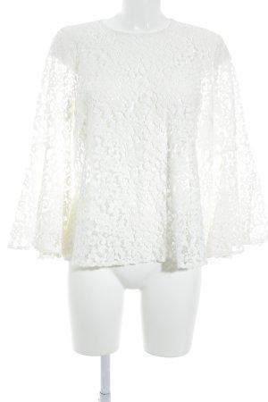 MNG SUIT Blusa in merletto bianco stile minimalista