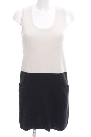 MNG SUIT Strickkleid wollweiß-schwarz Streifenmuster Casual-Look