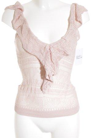 MNG SUIT Strickshirt rosé Lochstrickmuster Romantik-Look