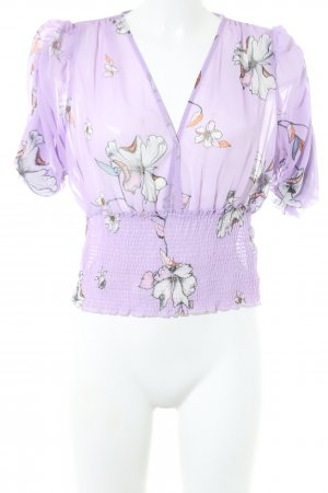 MNG SUIT Transparenz-Bluse lila Blumenmuster Casual-Look