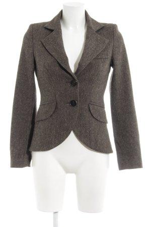 MNG SUIT Tweed blazer lichtbruin-zwart visgraatmotief klassieke stijl