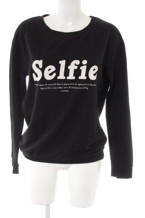 MNG Sweatshirt schwarz-weiß platzierter Druck Casual-Look