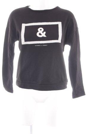 MNG Sweatshirt schwarz-wollweiß platzierter Druck Casual-Look