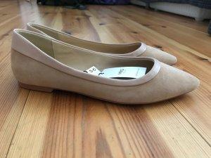 MNG Touch Mango Ballerinas flache Schuhe Leder Beige Altrosa Gr. 38 neu!!!
