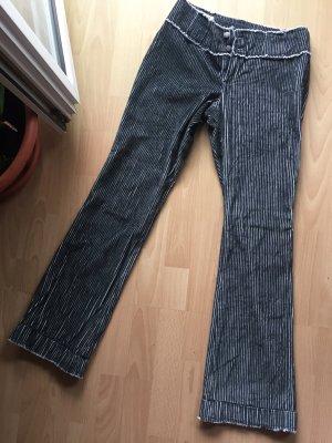 MNG Pantalón de pana negro-blanco
