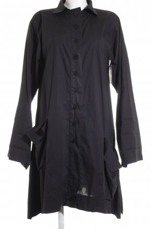 Mo Koshji Hemdblusenkleid schwarz klassischer Stil