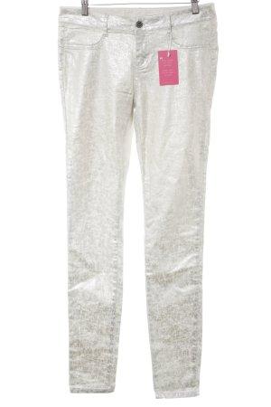 MOD Jeans cigarette argenté-blanc cassé style extravagant